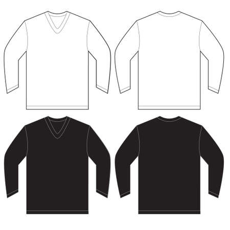 long sleeved: Vector illustration of black and white long sleeved v-neck shirt, isolated front and back design template for men