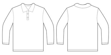 Vector illustration of white long sleeved polo shirt, isolated front and back design template for men