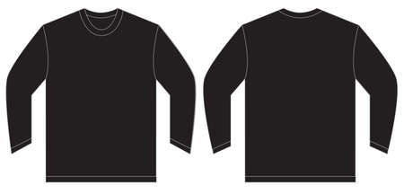 sleeved: Vector illustration of black long sleeved t-shirt, isolated front and back design template for men