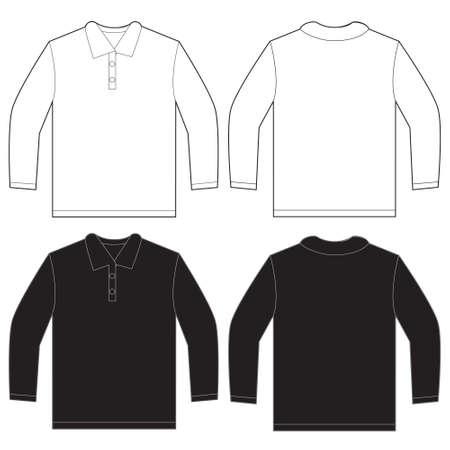남성 검은 색과 흰색 긴 소매 폴로 셔츠, 고립 된 전면 및 후면 디자인 서식 파일의 벡터 일러스트 레이 션