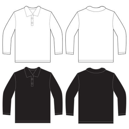 Vector illustration of black and white long sleeved polo shirt, isolated front and back design template for men