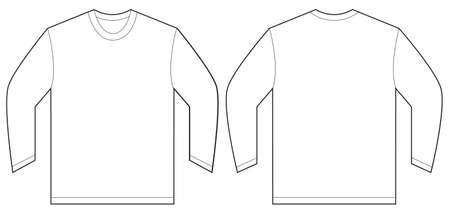 sleeved: Vector illustration of white long sleeved t-shirt, isolated front and back design template for men