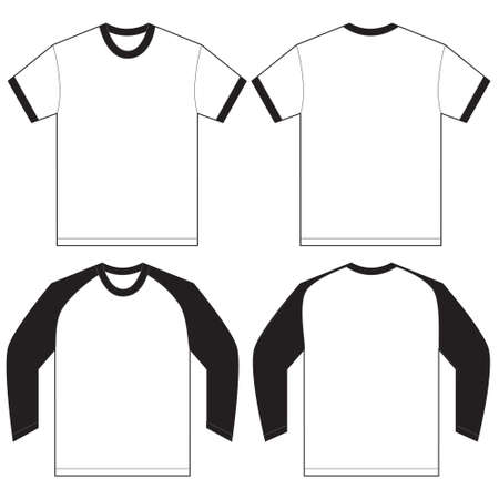 garments: Vector illustration of black and white long and short sleeved ringer t-shirt, isolated front and back design template for men