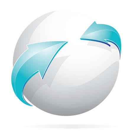 internet logo: Vector illustration of glowing white sphere and blue arrows isolated on white Illustration