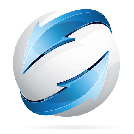 sphere logo: Vector illustration of glowing white sphere and blue arrows isolated on white Illustration