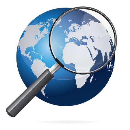 lupa: Ilustración del vector de la tierra azul con blanco continentes mapa del mundo y lupa aislado en blanco