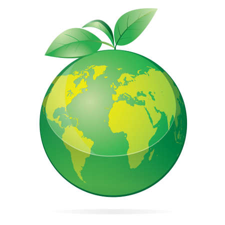 recycling logo: Vector illustration of green earth with leaves isolated on white