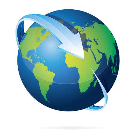 flecha: Ilustración del vector de la tierra con flechas azules círculo sobre él aisladas en blanco
