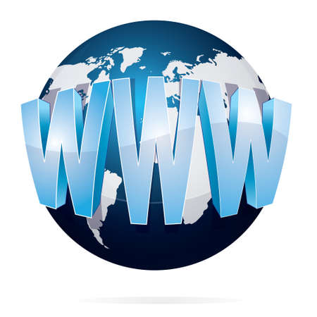 world wide web: Vector illustration of blue earth with WWW or world wide web words isolated on white Illustration