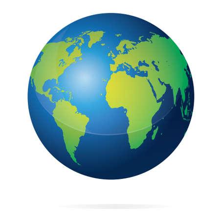 Ilustración vectorial de azul planeta tierra con continentes verdes mapa del mundo aislado en blanco