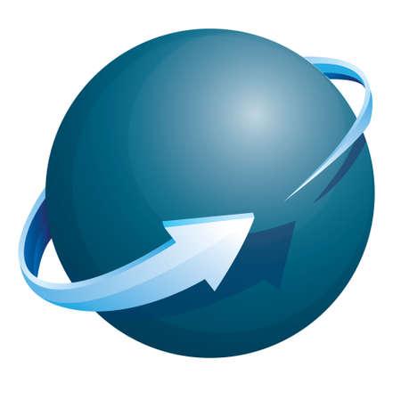 esfera: Ilustración vectorial de brillante esfera azul y el círculo flecha sobre él aisladas en blanco Vectores