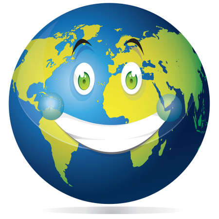 happy planet earth: Ilustraci�n del vector del planeta tierra mundo que muestra la cara sonriente feliz con el azul del oc�ano y los continentes verdes aislados en blanco
