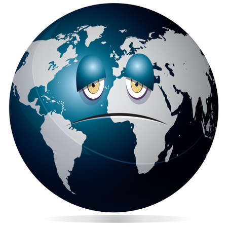 yellow earth: Vector illustration of planet earth globe showing sad and sick face with dark blue ocean and grey continents isolated on white