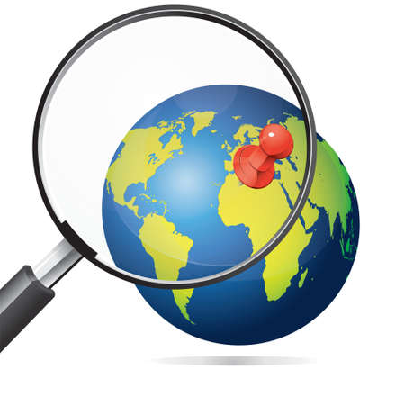 push pin: Vector illustration of magnifying glass zooming red push pin on earth globe, vacation tour plan concept Illustration