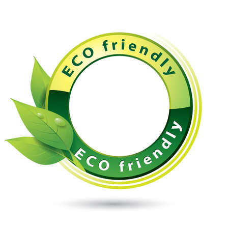 eco logo: Vector illustration of Eco Friendly Logo with green leaves and blank space in the middle, isolated on white
