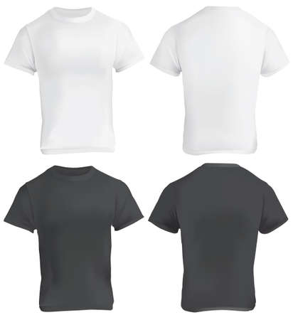 Vector illustration of black and white blank t-shirt template, front and back, realistic gradient mesh design, isolated on white Illustration
