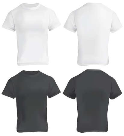 Vektor-Illustration der schwarzen und weißen leeren T-Shirt-Vorlage, vorne und hinten, realistisch Gradient Mesh-Design, isoliert auf weiß Standard-Bild - 49963813