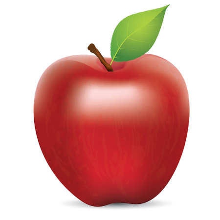 apple leaf: Vector illustration of fresh red apple with green leaf, realistic gradient mesh design, isolated on white