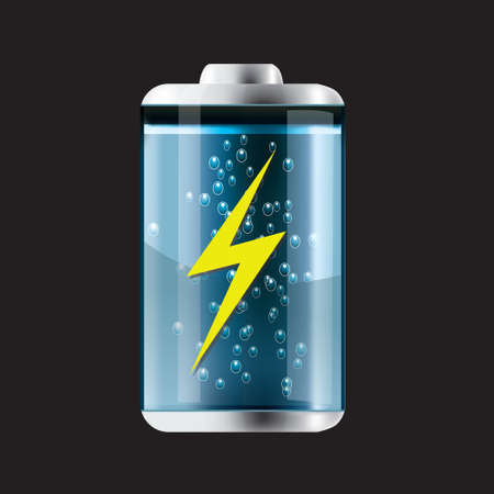 storage unit: Vector illustration of Liquid Battery Icon, on black background