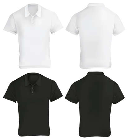 Vector illustration of black and white blank polo shirt template, front and back, realistic gradient mesh design, isolated on white  イラスト・ベクター素材