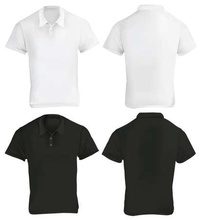 Vektor-Illustration der schwarzen und weißen Blanko-Polo-Shirt-Vorlage, vorne und hinten, realistisch Gradient Mesh-Design, isoliert auf weiß Standard-Bild - 49963825