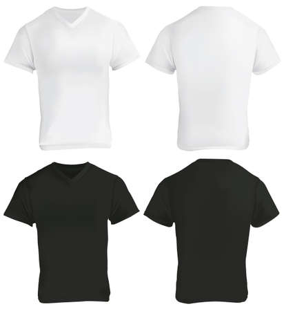 gradient mesh: Vector illustration of blank black and white v-neck shirt template, front and back, realistic gradient mesh design, isolated on white Illustration