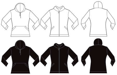 hooded top: illustration of black and white womens hooded sweatshirt, front and back design, isolated on white