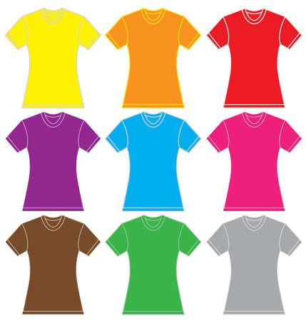 多くの色は、白で隔離の女性シャツ テンプレートのイラスト