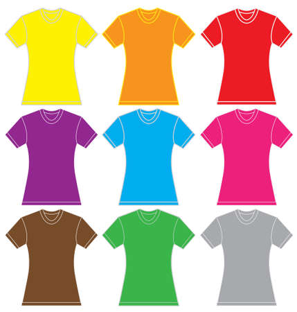 illustration of women shirt template in many color, isolated on white Stock Vector - 50603944