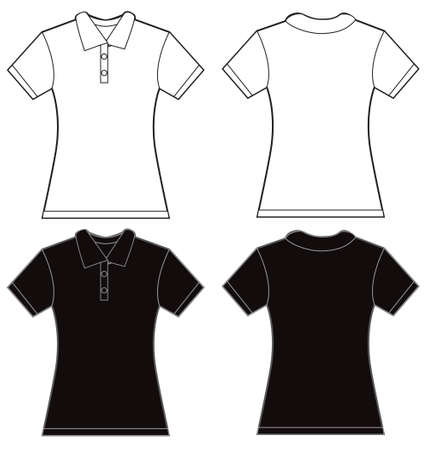 garment: illustration of black and white womens polo shirt, front and back design, isolated on white