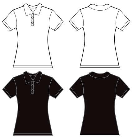 ilustración de diseño de la camisa de polo de las mujeres en blanco y negro, delante y detrás, aislado en blanco