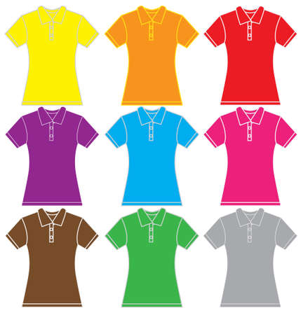 polo shirt: illustration of women polo shirt template in many color, isolated on white