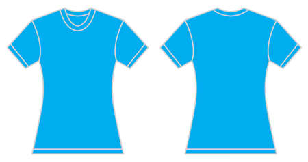 blue shirt: Vector illustration of women blue shirt, front and back design, isolated on white