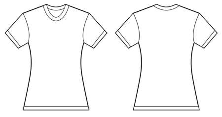 white shirt: Vector illustration of women blank shirt, front and back design, isolated on white
