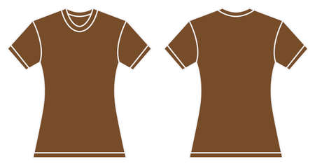 brown shirt: Vector illustration of women brown shirt, front and back design, isolated on white