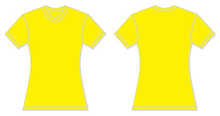 yellow shirt: Vector illustration of women yellow shirt, front and back design, isolated on white
