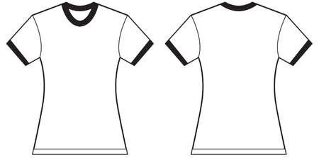 ringer: Vector illustration of womens ringer t-shirt, front and back design, isolated on white