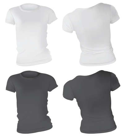 gradient mesh: Vector illustration of black and white t-shirt template for women, front and back, realistic gradient mesh design, isolated on white