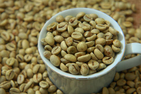 coffee beans: Raw coffee beans in white cup with blurred coffee beans on background Kho ảnh