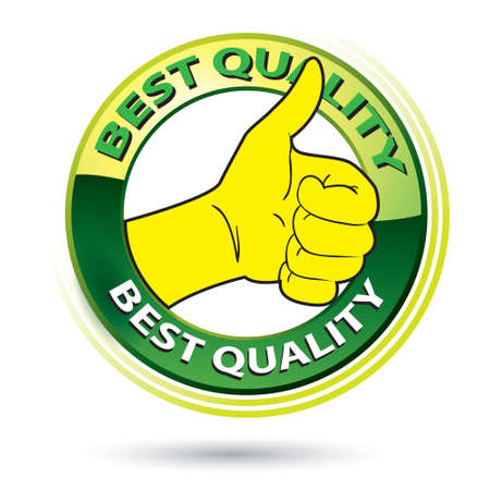 confirmed: Vector illustration of thumb up best quality logo, green and yellow circle isolated on white