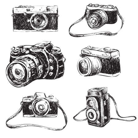 camera: Vector illustration of camera in doodle cartoon style