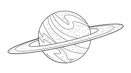 jupiter: Vector illustration of planet Saturn in black and white doodle cartoon