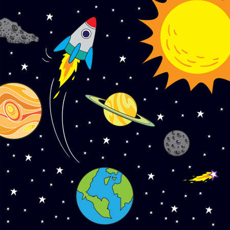 Vector illustration of space journey with rocket in cartoon style