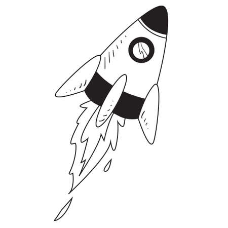 dessin au trait: Vector illustration of space rocket in black and white doodle cartoon