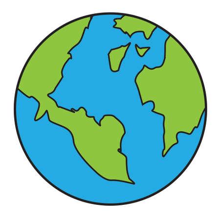 Vektor-Illustration des Planeten Erde isoliert auf weiß im Cartoon-Stil
