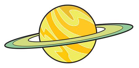 Vector illustration of Planet Saturn isolated on white in cartoon style Ilustração