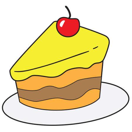 rebanada de pastel: Ilustración del vector de la rebanada de pastel en el estilo de dibujo coloreado Vectores
