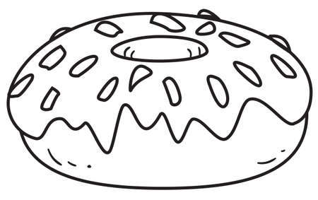 donut style: Vector illustration of a glazed donut in black and white outlined doodle style