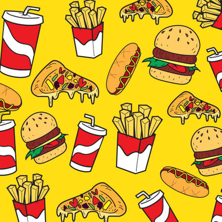 delicious food: Vector illustration of fast foods in colored doodle style Illustration
