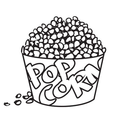 protein food: Vector illustration of big bowl of popcorn in black and white outlined doodle style Illustration